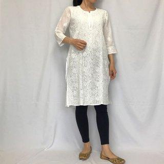 チカンカリ刺繍 ロングクルタ ホワイト Mサイズ
