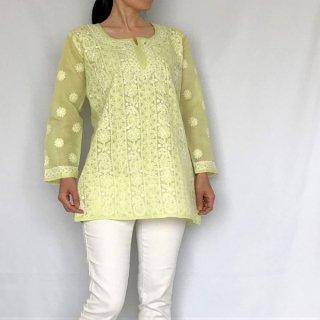 チカンカリ刺繍ミディアムチュニック グリーン S/M/Lサイズ
