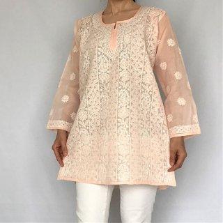 チカンカリ刺繍ミディアムチュニック ライトピンク Lサイズ