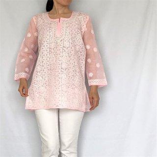 チカンカリ刺繍ミディアムチュニック ピンク Mサイズ