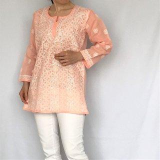 チカンカリ刺繍ミディアムチュニック サーモンピンク Mサイズ