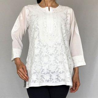 チカンカリ刺繍コットンチュニック ホワイト M/2Lサイズ