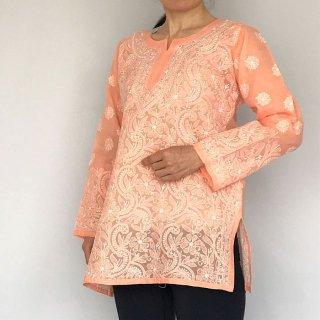 チカンカリ刺繍チュニック オレンジ 2柄 Lサイズ