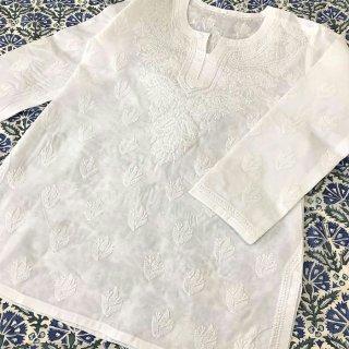 チカンカリ刺繍チュニック ホワイト SS/Sサイズ