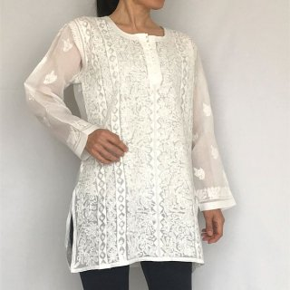 チカンカリ刺繍チュニック ホワイトアップリケ 2Lサイズ