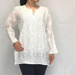 チカンカリ刺繍チュニック ホワイト Mサイズ