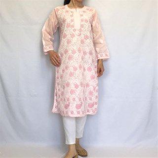チカンカリ刺繍ロングチュニック ピンク M〜Lサイズ相当
