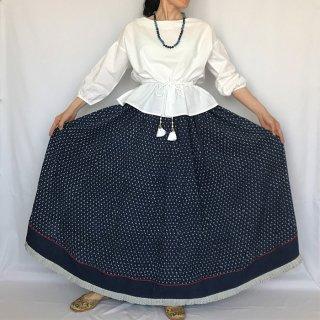【お取り置き中】Aavaran インディゴマキシ丈フレアスカート フリーサイズ