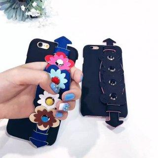 予約 2color  フラワー ベルト iphoneケース ストラップユー ブラック マルチカラ— スマホケース iPhone6s iPhone6 iPhone6Plus ケース