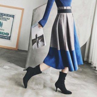 予約 5color バイカラー スエード調 フレア ミディ丈 スカート