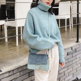 4color ミックスカラー ニット タートルネック ハイネック セーター