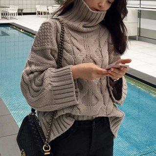 予約 オーバーサイズ ケーブル編み ハイネック ニット