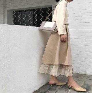 予約 2color  プリーツ チュール付き ミモレ丈 スカート