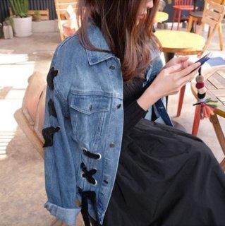 リボン 編み デニム ジャケット