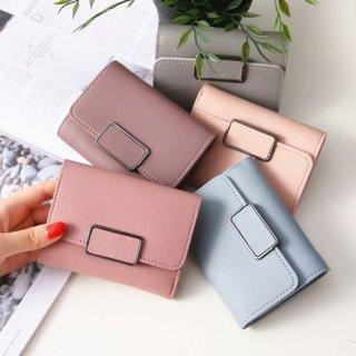 予約 5color 二つ折り ミニ スクエアモチーフ 金具付き 財布