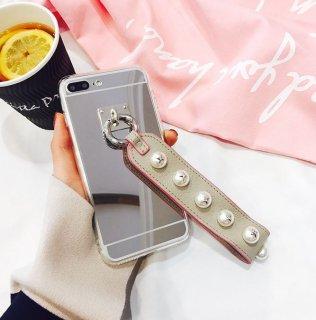 予約 パール スタッズ付き ベルト  iphoneケース iPhone6 6Plus iPhone7 7Plus X