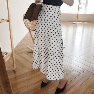 予約 2color  ドット柄 Aライン ロング スカート