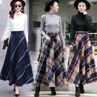 予約 3color チェック柄 ロング丈 スカート