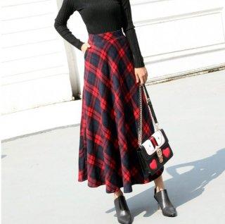 予約 3color  レッド ブラック グリーン チェック柄 ロング丈 スカート