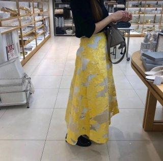 予約 刺繍デザイン オーガンジー ミモレ丈 ロングスカート