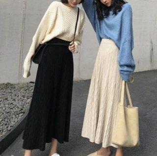 予約 2color デザイン プリーツスカート ニット ロングスカート
