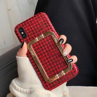 予約 千鳥格子 iphoneケース iphoneカバー RED