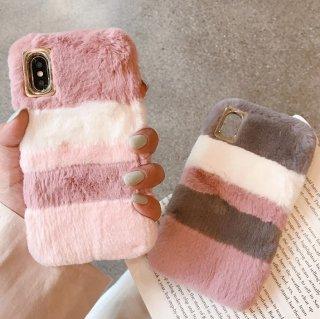予約 2color ファーボーダーiphoneケース iphoneカバー