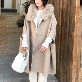 予約  リアルファー バイカラー ポンチョ風 コート