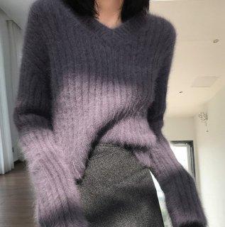 予約 2color Vネック リブニット カットソー モヘア セーター