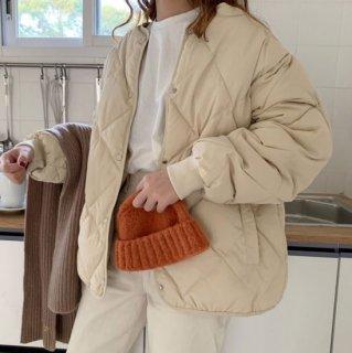 予約 2color ダイヤ柄 キルティング 中綿 ジャケット コート