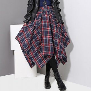 予約 2color チェック アシンメトリー裾  フレア スカート