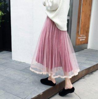 予約 5color チュール ベロア プリーツ スカート