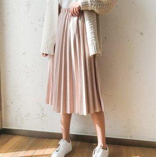 予約 6color ベロア調 スカート プリーツ ミディ丈 レングス