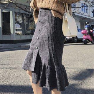 予約 5color アシンメトリー裾 フリル ニットスカート