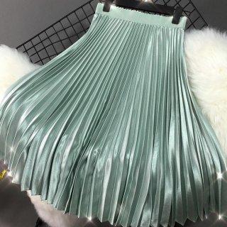 予約 9color ウエストゴム ミディ丈 メタル プリーツスカート