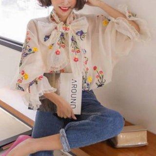 予約 2color 刺繍 チュール リボン フラワー柄 シャツ