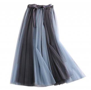 予約 5color チュール カラーブロック スカート ウエストリボン