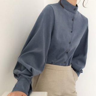 予約 3color ハイカラー ボリューム袖 シャツ デザインシャツ