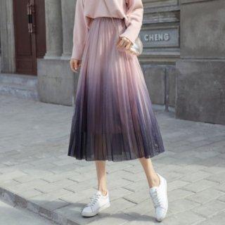 予約 4color グラデーション プリーツ スカート ミディスカート
