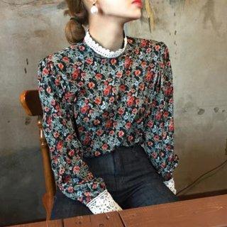 予約 クロシェ 袖 フラワーパターン シャツ