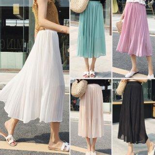 予約 5color ミディ丈 カラー シフォン スカート