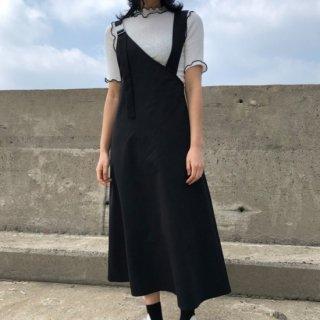 予約 アシンメトリー ジャンパースカート + バイカラーデザイン トップス