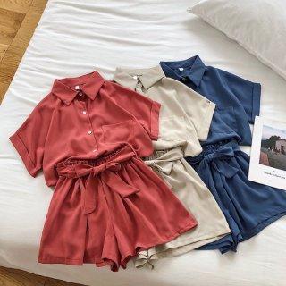 予約 5color 半袖 シャツ + ショートパンツ セットアップ ツーピース ウエスト リボン
