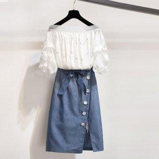 予約 オフショルダー + スカート セットアップ