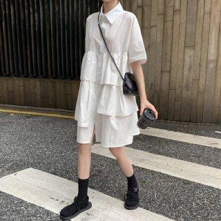 予約 2color Aライン カジュアル フリル 切替 シャツ ワンピース