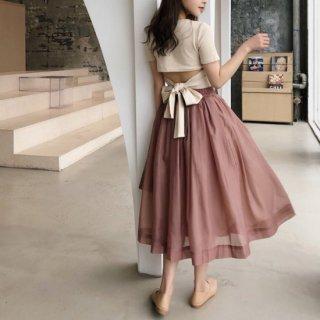 予約 3color セットアップ バックオープン リボンTee + ミディ丈 スカート