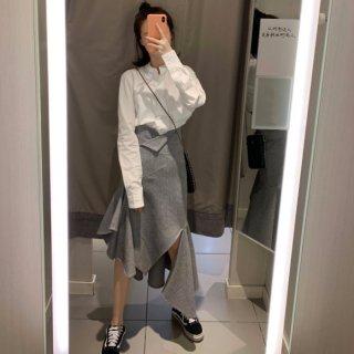 予約 2color スリット アシンメトリー  デザイン スカート