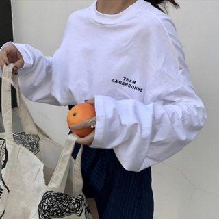 予約 4color ビッグシルエット ロンT tee 長袖 胸ロゴ トップス