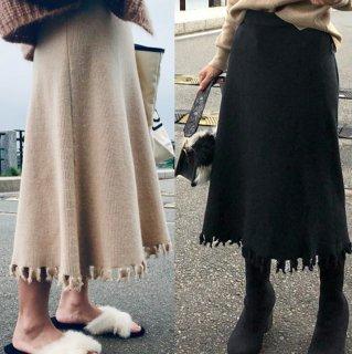 予約 3color 裾 カッティングデザイン フリンジ ミモレ丈 ニット スカート