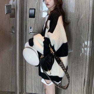 予約 モノトーン バイカラー もこもこ オーバーサイズ カーディガン 羽織り コート